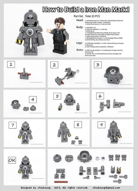 How to build a LEGO IronMan MarkI? Here is the instruction. try it out :D by chiukeung on Flickr