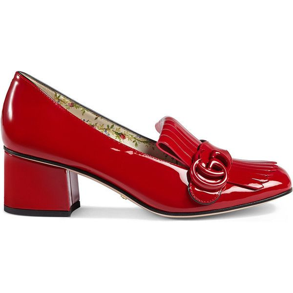 Gucci Marmont patent leather mid-heel pump ($860) ❤ liked on Polyvore featuring shoes, pumps, red, foldable shoes, patent pumps, red shoes, red pumps and red mid heel pumps