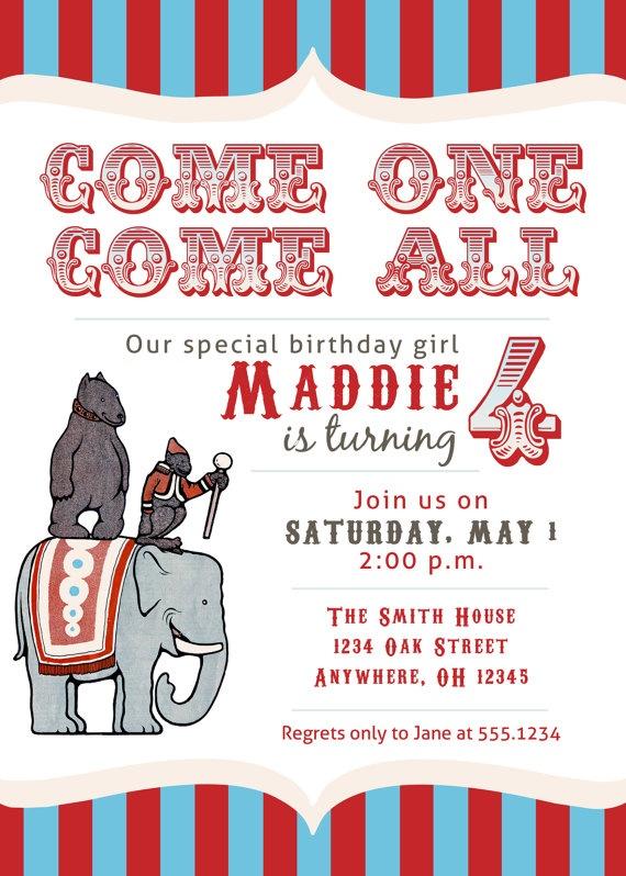 circus party invites