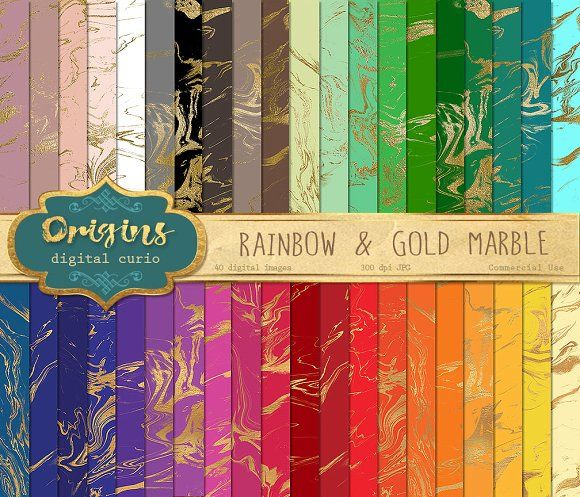 Rainbow and Gold Marble Textures by Origins Digital Curio on @creativemarket