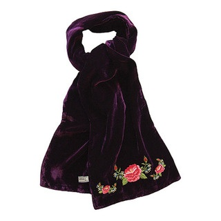 """This is my """"Frida Rose"""" silk velvet scarf with divine hand embroidered rose detail at each end."""