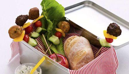 Meatball and salad sticks