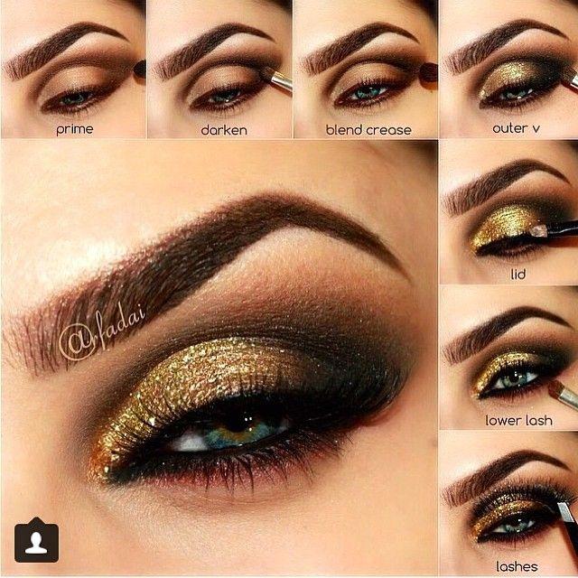 Ideas paso a paso para aprender a maquillarte tus ojos con Dorado y marrón para…