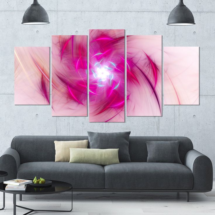 DESIGN ART Designart 'Purple Fractal Nuclear Reaction' Modern Floral Artwork - 60x32 5 Panels