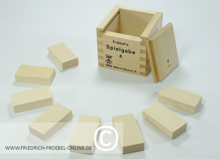 Spielgabe 4  8 Holzbausteine (Quader) im Holzbaukasten
