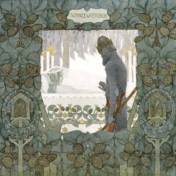 'Schneewittchen / Snow White' by the Brothers Grimm, illustrated by Heinrich Lefler. Part of a fairy tale calender published 1905 by Berger & Wirth, Leipzig.