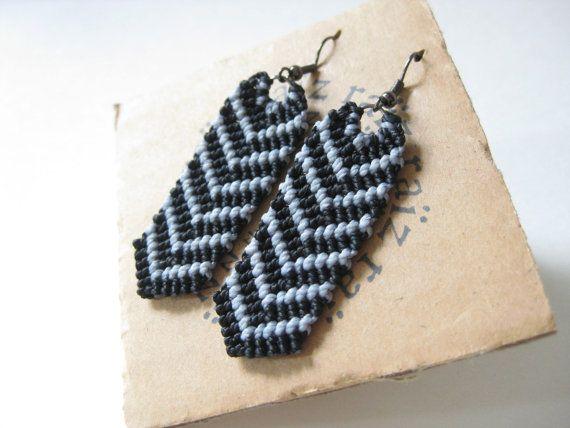 ZEBRA Macrame Earrings Striped Chevron Geometric Jewelry - Urban Bohemian  Modern Micro Macrame Minimalist Textile Earrings ~ Design by raiz