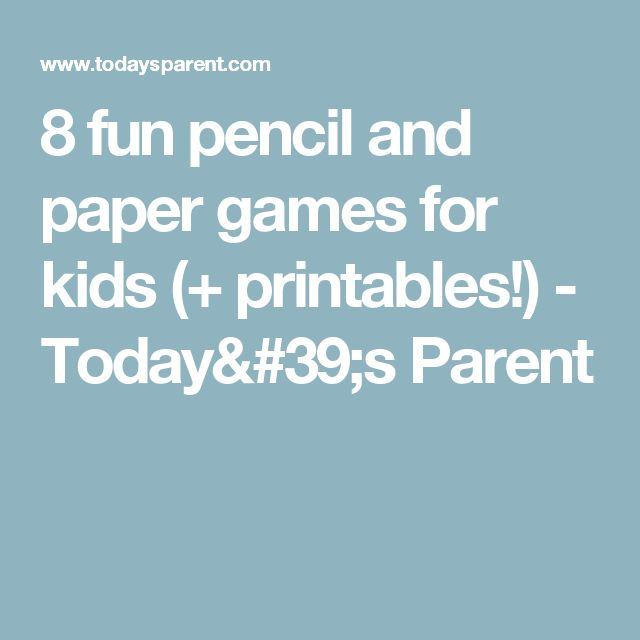 8 fun pencil and paper games for kids (+ printables!) - Today's Parent