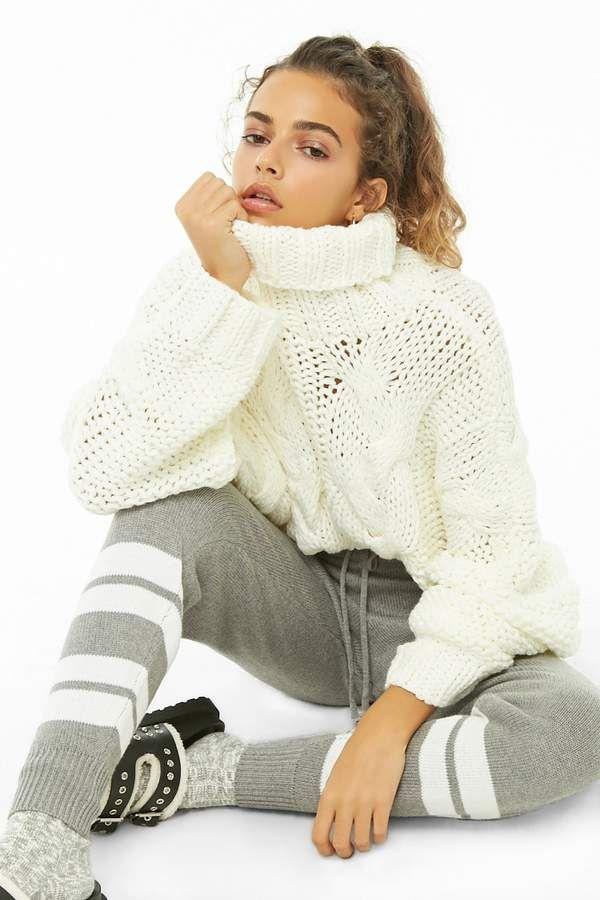 5b3fe538719 Forever 21 Cable Knit Turtleneck Sweater