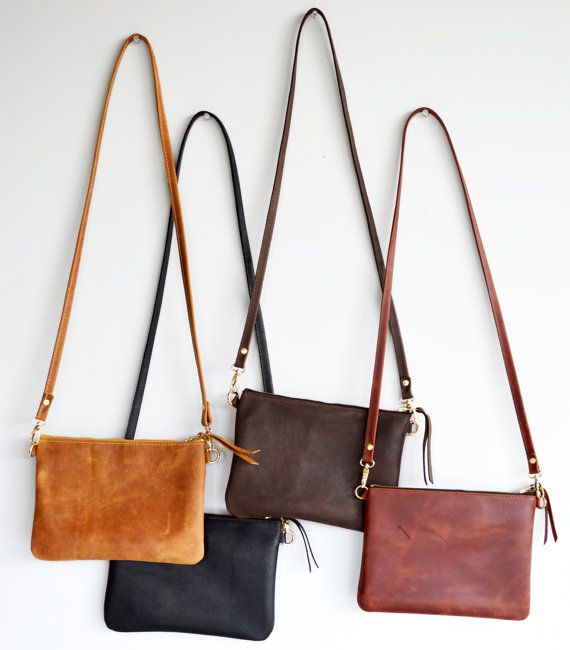 Minimalist leather crossbody bag - Choose your colour