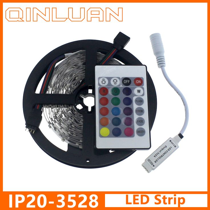 SMD 3528 RGB LED Strip 60LEDs/m 5M Flexible tiras de led+Remote Controller RGB White Warm White diode tape for home decoration