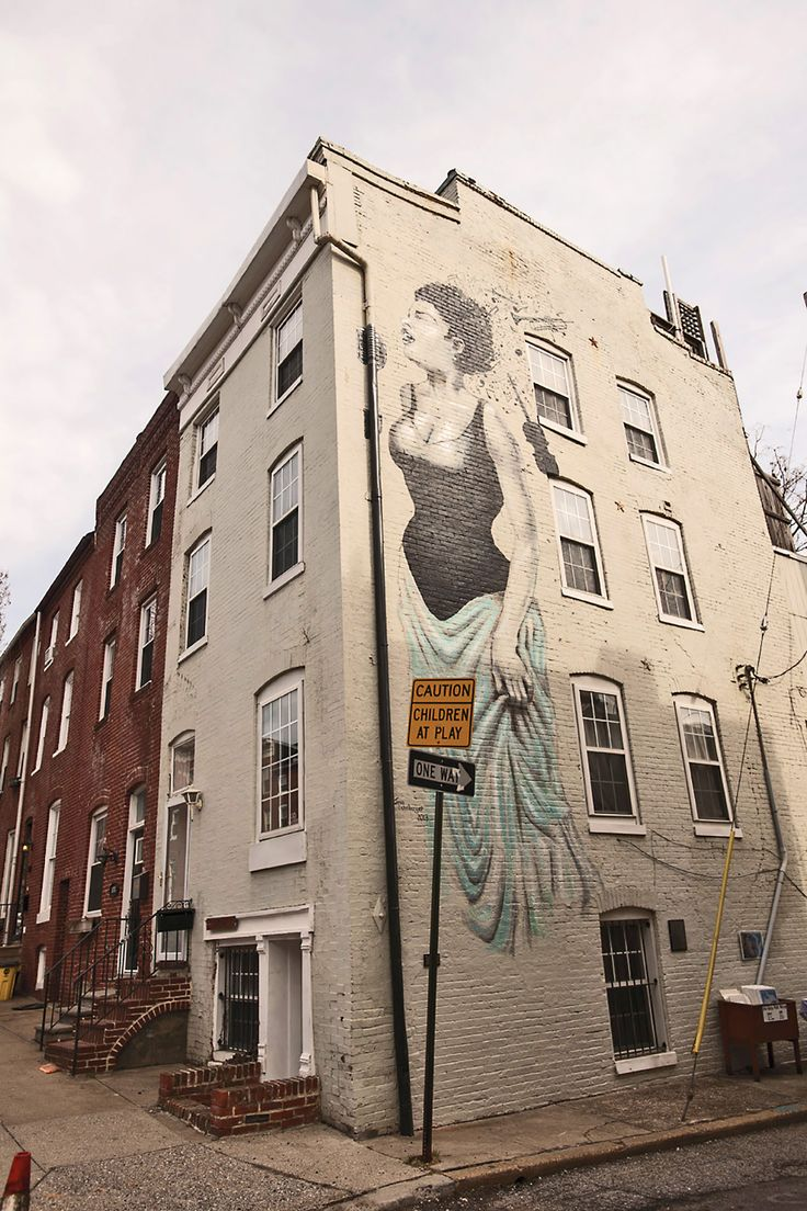 "Billie Holiday grew up on this Fells Point block, now adorned with a mural of ""Lady Day"" herself 