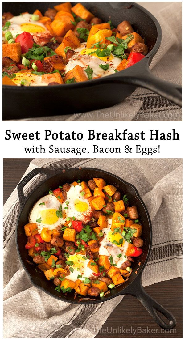 All the best things about breakfast – potatoes, sausages, bacon, eggs – in one pan. This sweet potato breakfast hash is a great way to start your day!