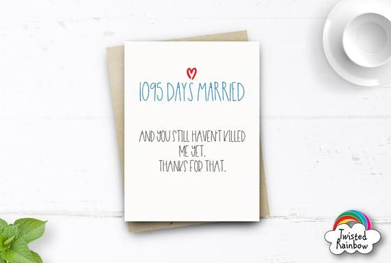 2nd anniversary card for him her 730 days two years husband or wife card