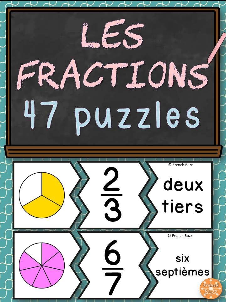 Les fractions - 47 puzzles pour pratiquer les fractions en images, chiffres et mots.