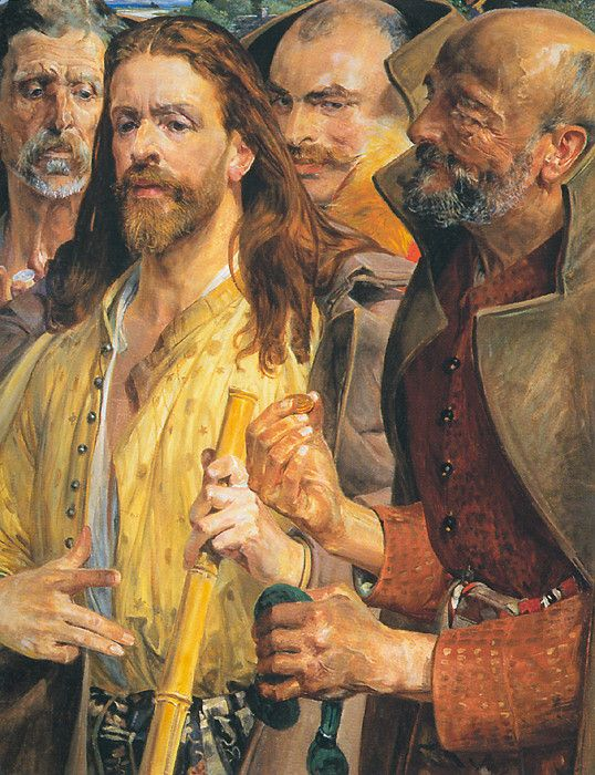 Triptych: The Tribute Money (middle panel) - Jacek Malczewski