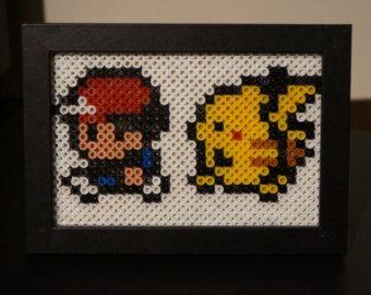 Personnages de perler Pokemon  Ash Pikachu professeur Oak
