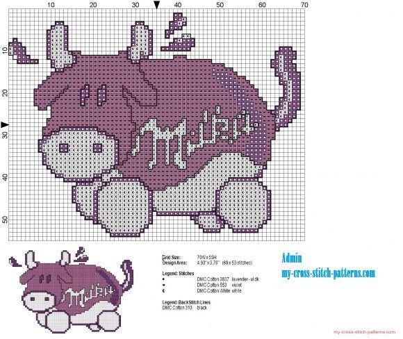 La Mucca del cioccolato Milka schema punto croce artwork 2 (click to view)
