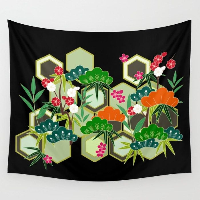 Tropical Tapestry, Black Tapestry, Tropical Wall Hanging, Japanese Tapestry, Modern Decor, Tropical Glam Tapestry, Cherry Blossom Tapestry by OlaHolaHolaBaby on Etsy