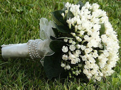 Bouquet sposa con Bouvardia, chiusura hand tied braccialetto strass e perle | da florpassion