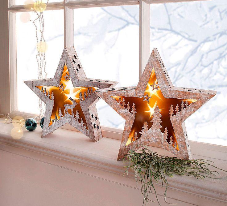 LED Holzstern (2tlg.), »Stern« in natur, weiß-gewischt im Online Shop von Baur Versand