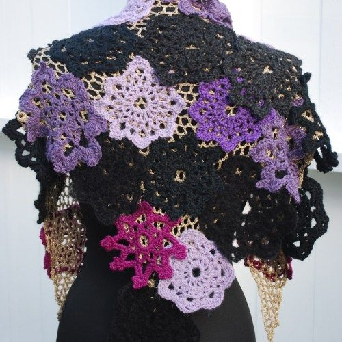 Crochet scrap yarn shawl