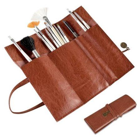 Zodaca Fashion Brown Roll Up Leather Beauty Makeup Cosmetic Pencil Case Bag Makeup Brush Holder
