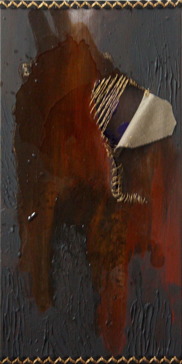 'secret of the east'. Created for a gift. 2011, acryl, resin, strands on canvas. Author: Anna Korpyta korpyta.com #painting #abstract #abstractpainting #korpyta #annakorpyta #informel #hole http://korpyta.com