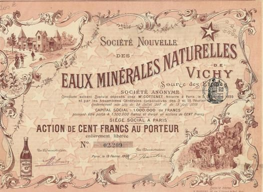 Société Nouvelle des Eaux Minérales Naturelles de Vichy, Paris, 1900