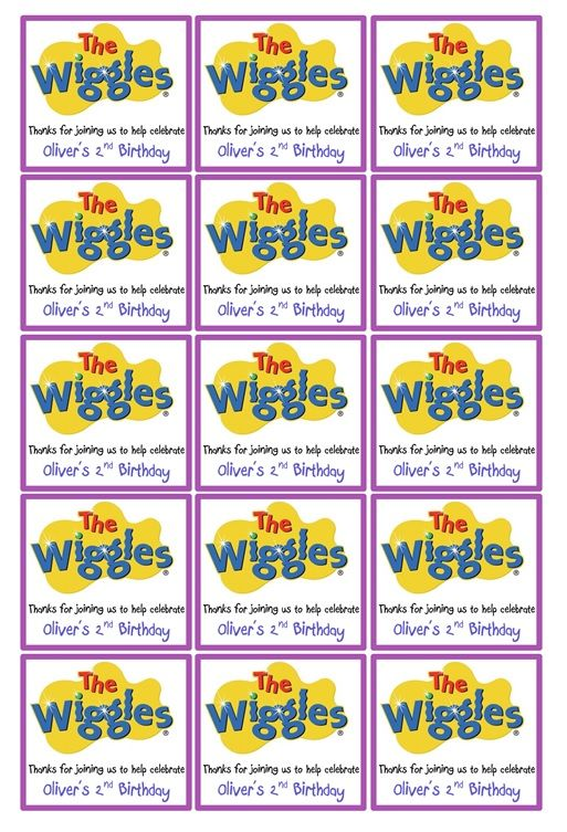 Wiggles Party box labels