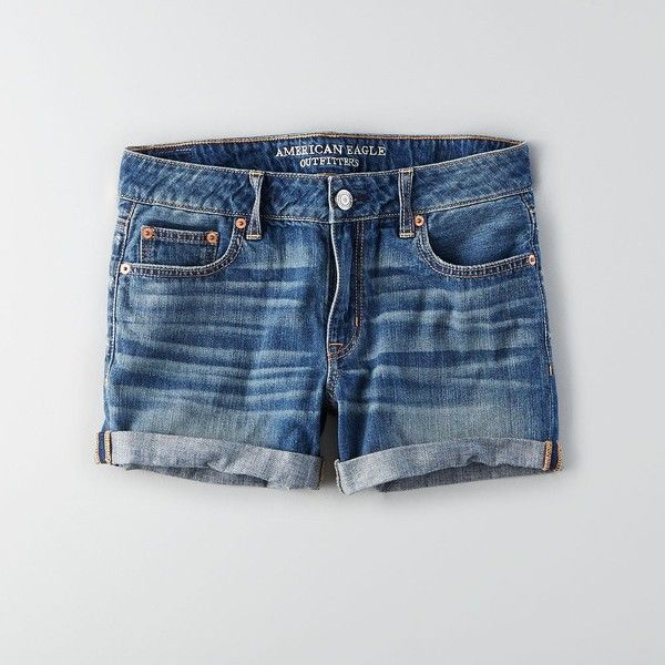 AEO Denim Rolled Boy Midi Shorts ($40) ❤ liked on Polyvore featuring shorts, fresh bright, torn shorts, distressed denim shorts, relaxed shorts, mid rise shorts and denim shorts