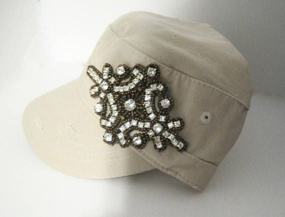 Khaki Short Bill Cadet Military Distressed Army Hat with a