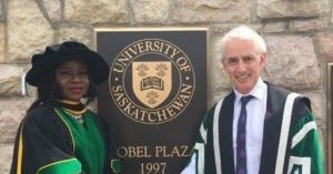 Adeola a Physics graduate of Olabisi Onabanjo University (OOU) is the first black person to bag a PhD in Biomedical Engineering from theUniversity of Saskatchewan Canada. In her Facebook post she narrated how she stood strong against all odds to get to this stage where she is immensely proud of herself. She explained how she applied to over 100 schools just to get a scholarship and how she had to work different part time jobs to sustain herself. Here is her full post:  As the 5th child of 5…