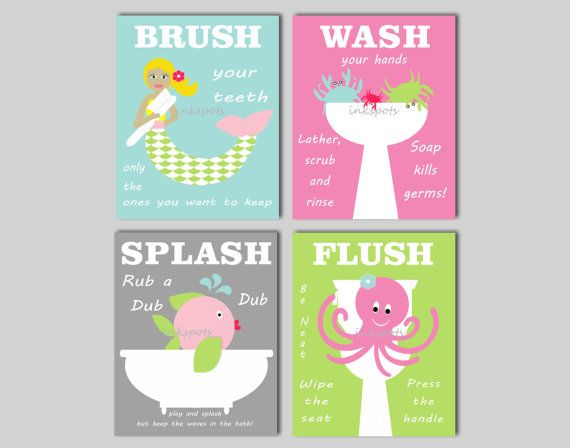 Kids Bathroom Prints  Brush Wash Flush  Bath di inkspotsgallery, $30.00