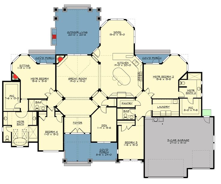 2492 best images about floor plans on pinterest house for Single level house plans with two master suites