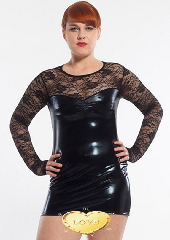 new Womens Wet Look Leather Sheer Lace Plus Size Clubwear sexy dress M-5XL size