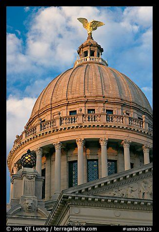 Dome of Mississippi Capitol at sunset. Jackson, Mississippi