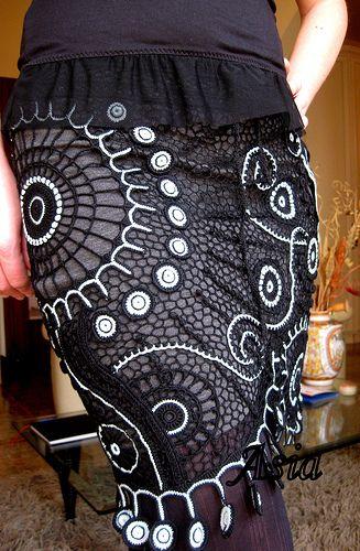 Free-form crochet skirt