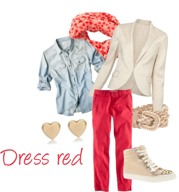"""""""Dress red day casual"""" by judith1nl on Polyvore"""
