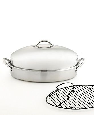 Martha Stewart Collection Stainless Steel Covered Oval Roaster with Roasting Rack - Cookware - Kitchen - Macy's
