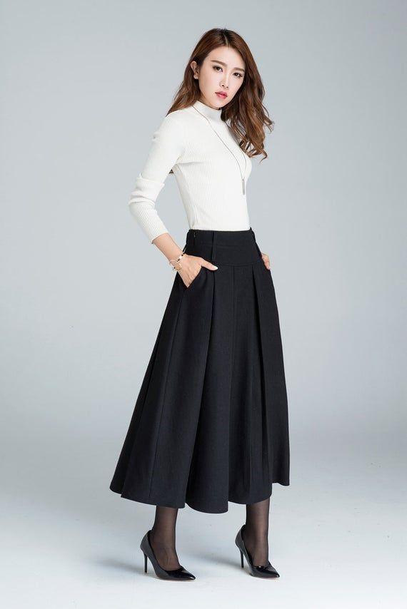 Black skirt, wool skirt, maxi skirt, skirt with pockets, womens skirts, winter skirt, pleated skirt, high waisted skirt, made to order 1631#