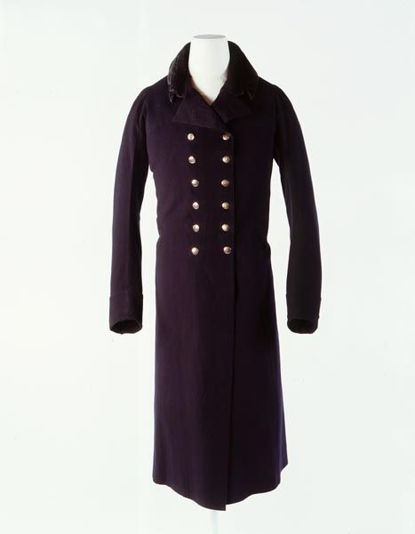 Man's Great Coat by John Weston, 1803-1810 Double-breasted, silk velvet collar and made of high quality British wool facecloth.