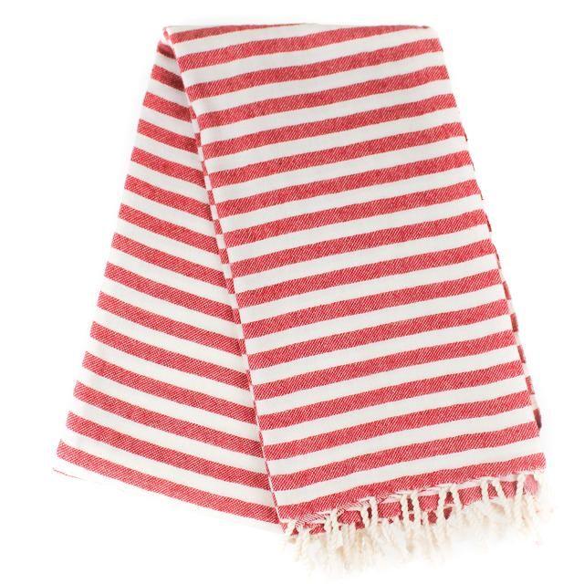 Brighton håndklæde - beige/røde striber