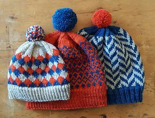 A Family of Hats is a fun, easy collection of patterns designed as an introduction to stranded colorwork! Three skeins of Looped Yarn Works Dupont DK will yield three or more hats depending on size.