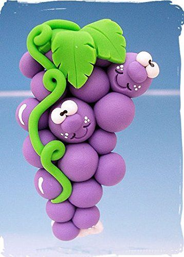 Amazon.com: Polymer Clay Goofy Grape Magnet from Clayful Creations by Becky: Kitchen & Dining