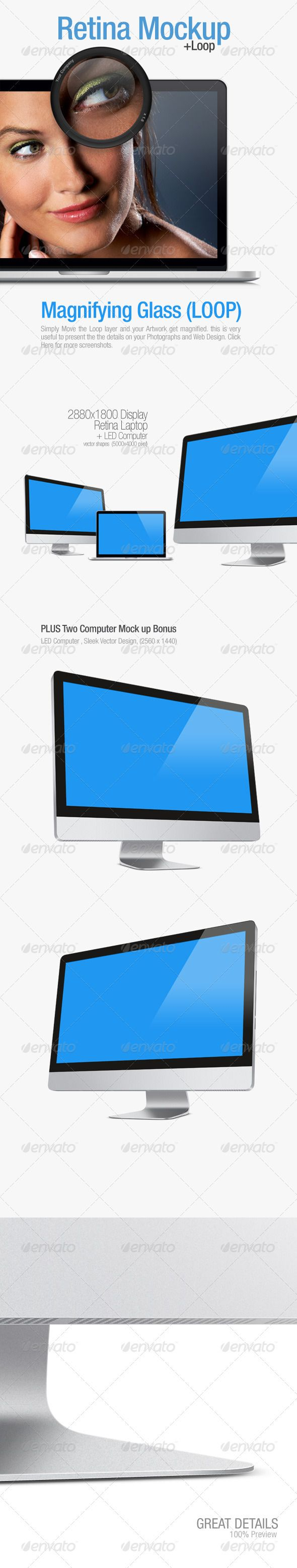 Retina Laptop Mock up  #GraphicRiver         Super High Quality Mockup for your presentations for Apps, Website Templates and other Artworks…Each Group is organized into layers so you can double click on LCD layer and paste your artworks, it's very easy, you can customize the color of background too. the great minimal way to present your works for your clients or your website. There is a Loop included you can simply move it around and it Automatically Magnifying the Screen. it's great to…