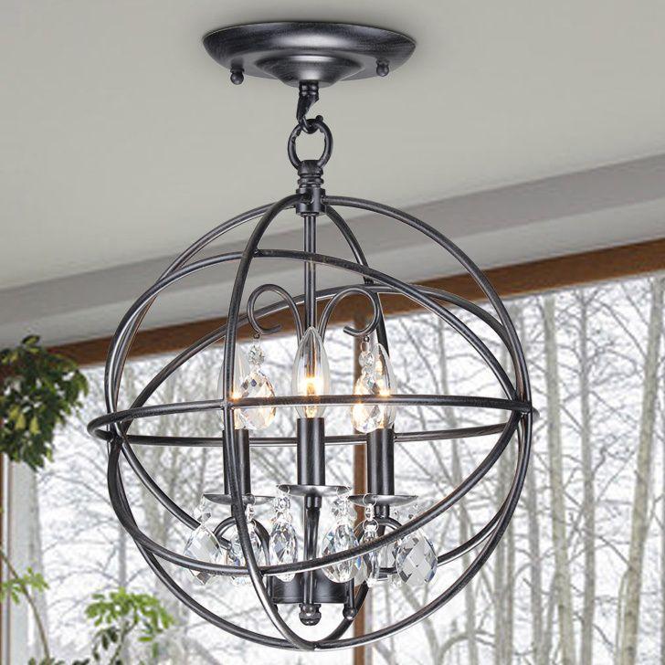 Benita 3-light Antique Black Metal Globe Crystal Flush Mount Chandelier (3-Light, Antique Bronze, Flush Mount Chandelier) (Iron)