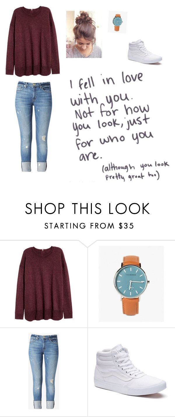 """""""Untitled #224"""" by sportslover102 ❤ liked on Polyvore featuring Love Quotes Scarves, H&M, Hudson Jeans and Vans"""