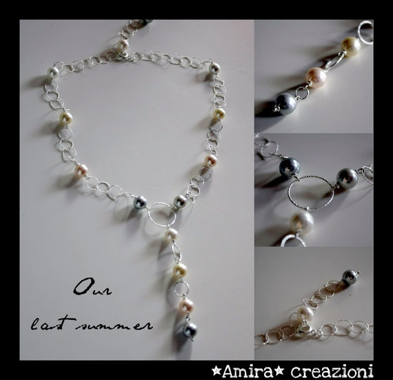 Maiorca pearls and silver necklace by AmiraCreazioni