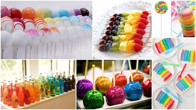 Rainbow colored food for a Rainbow wedding #rainbow #wedding #food